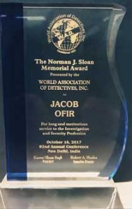"W.A.D World Association of Detective ""Norman J. SLOAN"" Award received in India 2017"